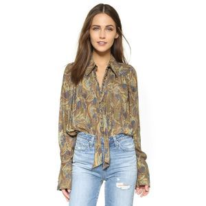 Free People Modern Muse Tie Neck Crepe Blouse
